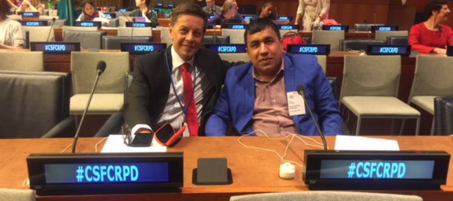 Brent Morgan and Amar Timalsina represent TLM at the UN in New York