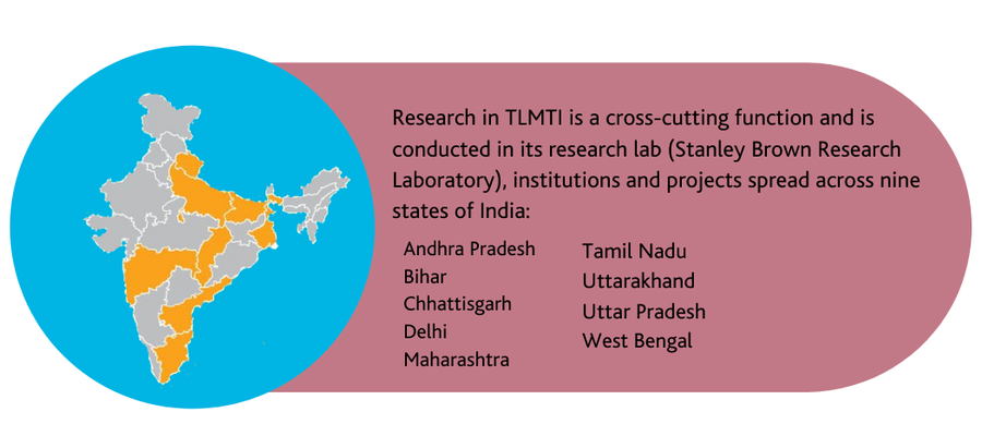 Research in TLMTI is a cross-cutting function and is conducted in its research lab (Stanley Brown Research Laboratory), institutions and projects spread across nine states of India: