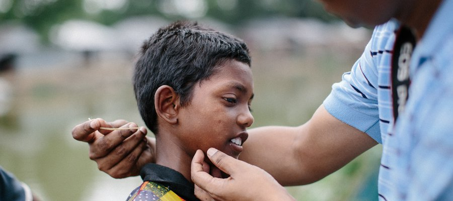 A boy undergoes a test for leprosy