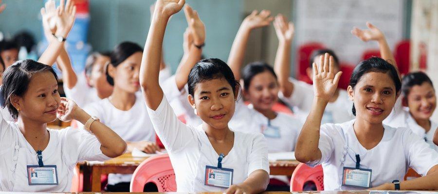 Students at Mawlamyine Hospital Training School, Myanmar