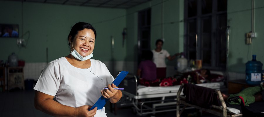 Naw Htee Khy Phaw smiles at the camera. She is a nurse at Mawlamyine Hospital, our partner hospital in Myanmar.