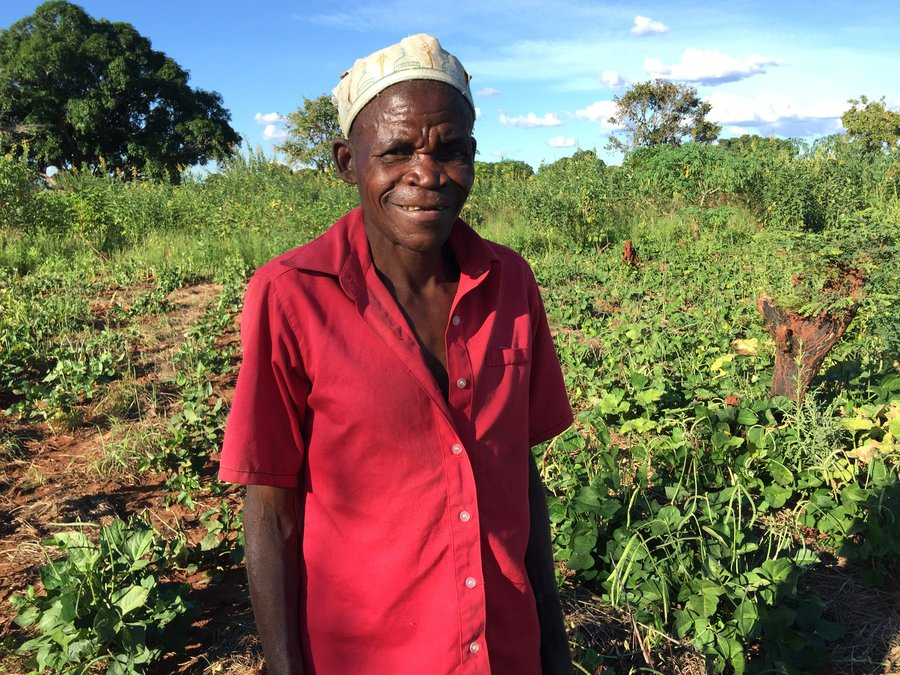 Armando stands in front of fields in his farm