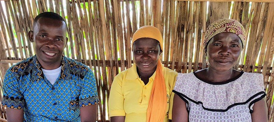 Filomena, with Village Volunteer Tasiana ,and District Supervisor, Martin in Mozambique