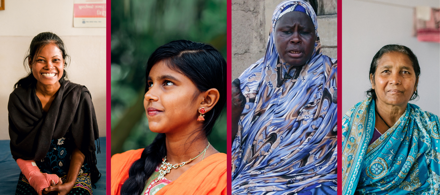 A collage of four women affected by leprosy