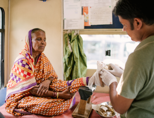 Sarita receives care in one of our mobile clinics